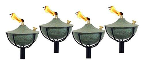 Legends Maui Tiki Style Torches with Poles, Set-of-4, (Hammered Patina)