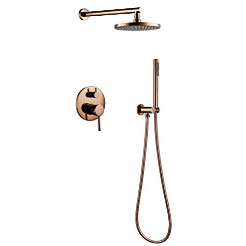 WG Rose Gold Brass Shower Diverter Valve Faucet Set with 8'' inch Round Shower Head Bathroom Wall Shower Set