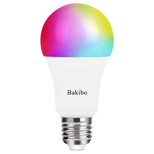chollos oferta descuentos barato bakibo Bombilla LED Inteligente WiFi Regulable 9W 1000 Lm Lámpara E27 Multicolor Bombilla Compatible con Alexa Echo e Google Home A19 90W Equivalente RGBCW Color Cambio Bombilla 1 Pcs