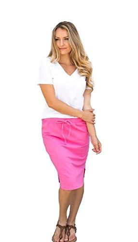 (Tickled Teal Women's Casual Cotton Blend Knee-Length High Waist Summer Elastic Short Weekend Skirt (Pink, X-Large))