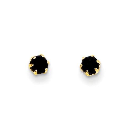 3mm Black Onyx Post Earrings in 14k Yellow Gold 14k Yellow Gold Onyx Earrings