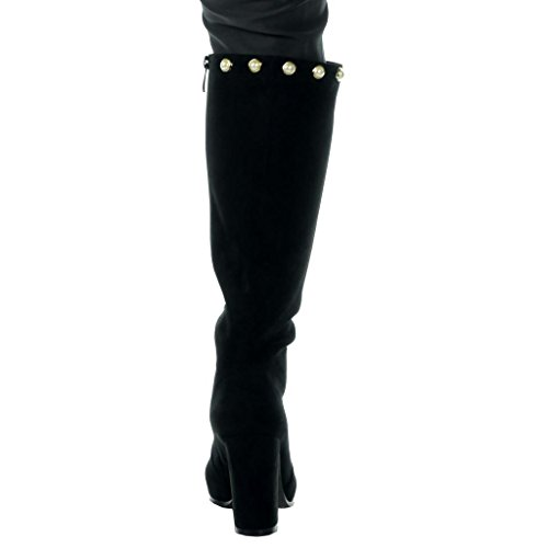 Angkorly Damen Schuhe Stiefel - Reitstiefel - Kavalier - Sexy - Flexible - Perle - Golden Blockabsatz High Heel 9.5 cm Schwarz