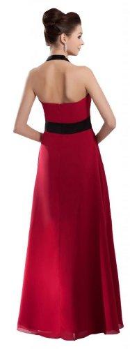 Orifashion Bi-Color Halter rojo gasa Prom/Cuello En V vestido de fiesta (Modelo edsher0379)