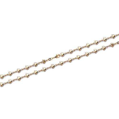Bracelet en Plaqué Or - 18 cm - Chaine Coeurs - Bijou Femme