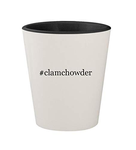 #clamchowder - Ceramic Hashtag White Outer & Black Inner 1.5oz Shot Glass