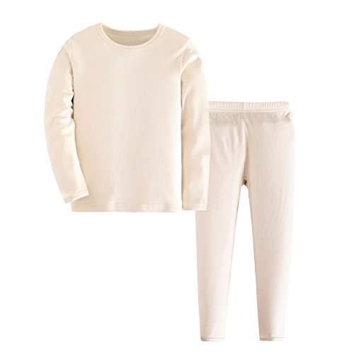 Kid Boy Girl Solid Thermal Underwear Set Long John Top and Bottom Beige 6