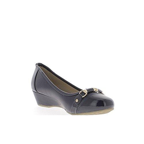 Dunkel blau Offset Ballerinas Ende gemalt zu 3,5 cm heels