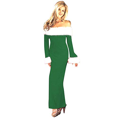POQOQ Dress Women Christmas Warm Off Shoulder Long Sleeve Party Sexy M Green