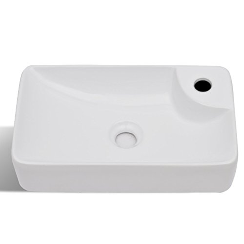 Festnight Bathroom Ceramic Vessel Sink Above Counter White Countertop Vanity Sink Art Basin with Faucet Hole for Lavatory Contemporary Style by Festnight