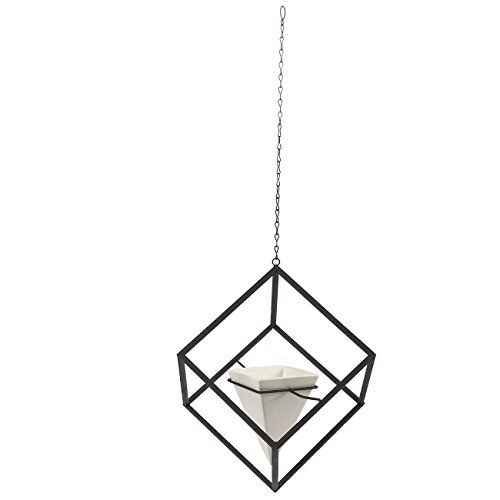 Hanging Planters - Set of 2 Decorative Geometric Hanging Planters, White Ceramic Air Plant Pots Ideal for Air Plants, Succulents, Wall Hanging Accessories for Home and Office decor, 7.7 x 8 x 8 (Hexagon Hanging)