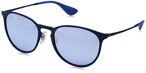 Ray-Ban Erika Metal RB3539 90221U Non-Polarized Sunglasses, Blue/Grey Mirror, 54 - Ray Case Ban Display