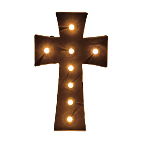 - Glitzhome Rusty Marquee LED Lighted Cross Sign Wall Decor Battery Operated, Red