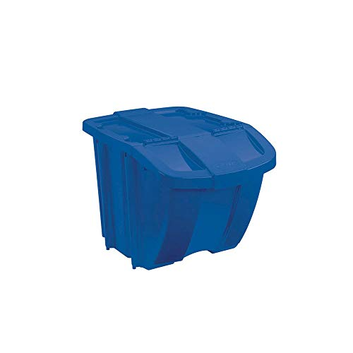 Suncast 18 Gallon Durable Stackable Resin Home Recycle Storage Bin w/Lid, Blue