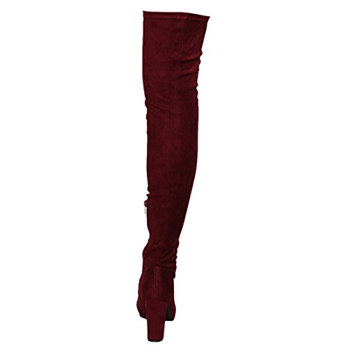Size Women's FM29 Suede Half High Wine Boots Side Zip Small Thigh Fit BESTON Snug Stretchy PAn5xwHBHq