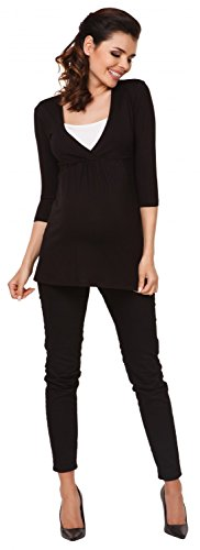 Zeta Ville - mujer - maternidad enfermería camiseta - superior camisa S-3XL - 372c Negro