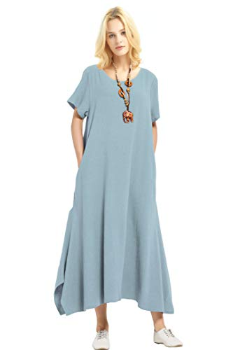 - Anysize Linen Cotton Soft Loose Spring Summer Dress Plus Size Clothing F126A,Light Blue,Medium
