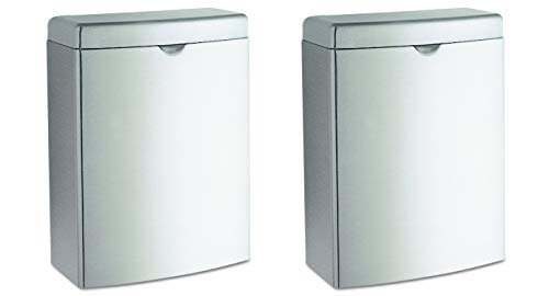 Bobrick 270 Contura Sanitary Napkin Receptacle, Rectangular, Stainless Steel, 1gal (Pack of 2) ()