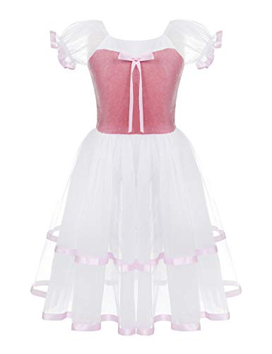 (iiniim Kids Girls Puff Short Sleeve Leotard Bowknot Ballet Dance Long Dress Party Maxi Gown Mesh Tutu Skirt Velvet Bodice Top Pink 14)