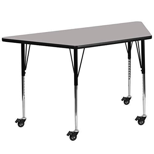 Flash Furniture Mobile 25.5''W x 46.25''L Trapezoid Grey HP Laminate Activity Table - Standard Height Adjustable Legs