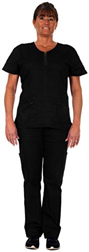 Heartbeat Scrubs Denice Medical Scrubs for Women -#1113 (2X Large, Black) (Reversible Solid Scrub)