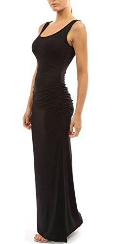Haxibkena Dress XlBlack Tunica Rotondo EcolorWine Con Scollo A Abito Senza Maniche Aderente RedSize Maxi 8ZkNPX0nwO