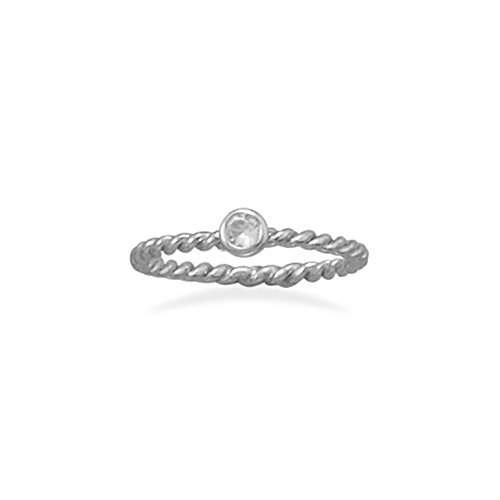 Stackable April Ring Rhodium o