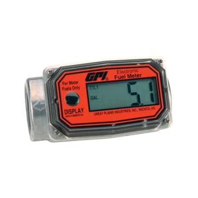 GPI 113255-1, 01A31GM Aluminum Turbine Fuel Flowmeter with Digital LCD Display, 3-30 GPM, 1-Inch FNPT Inlet/Outlet, 0.75-Inch Reducer Bushings: Industrial & Scientific