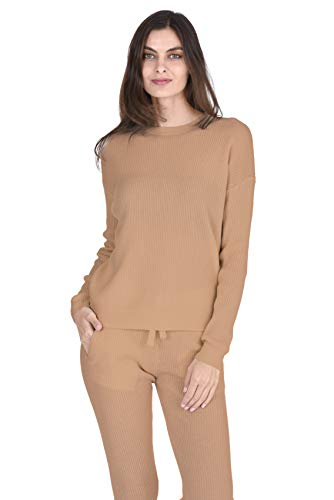 State Cashmere Women's 100% Pure Cashmere Knitted Loungewear Crewneck Pullover Sweater (Sweater/Cammello, Medium)