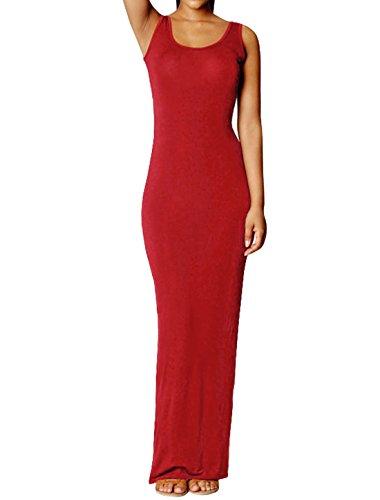 sourcingmap Mujer De Cuello Abierto Jersey Corte Ajustado Vestido Largo - sintético, Rojo, 60% poliéster 40% algodón, Mujer, Ch (EU 34/UK 6)