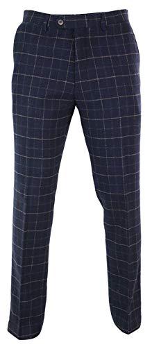 house of cavani Mens Herringbone Tweed Check Peaky Blinders Trousers Wool Vintage Classic Retro Navy-Check-Shelby 30 ()