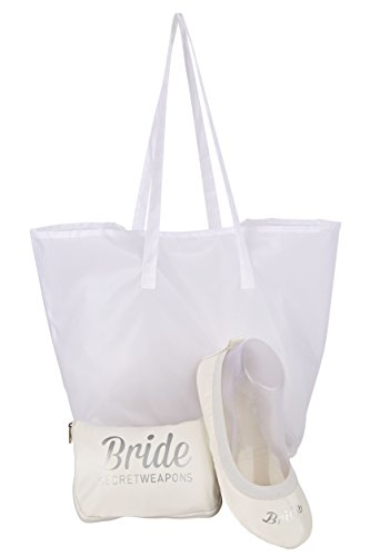 Fold White Print Tote Bag Purse Cute up amp; with Bride Foldable Ballet Carry Bride Shoes Flats White rr5vqB6w