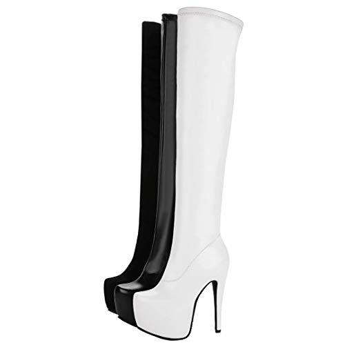 Damen Stretch mit Stiefel pu Stiefel Langschaft Plateau High Winter Extrem Overknee AIYOUMEI Heels Stiletto Weiß HA4xwqAR