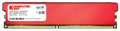 Komputerbay 2GB DDR2 DIMM (240 pin) 1066MHz PC2-8500 Desktop RAM with Red Heatspreaders for extra cooling CL 5-7-7-25