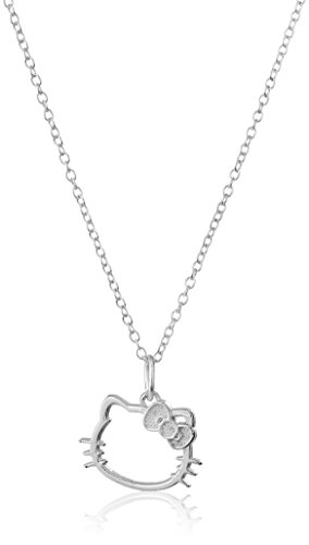Hello Kitty Disney Sterling Silver Silhouette Pendant Necklace