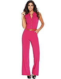 Roswear Women's Sexy Plunge V Neck Belted Wide Leg Jumpsuits Dress Rosy 3X Plus Size
