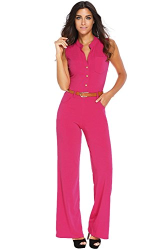 Roswear Women's Sexy Plunge V Neck Belted Wide Leg Jumpsuits Dress Rosy 1X Plus Size (Plus Size Rompers)