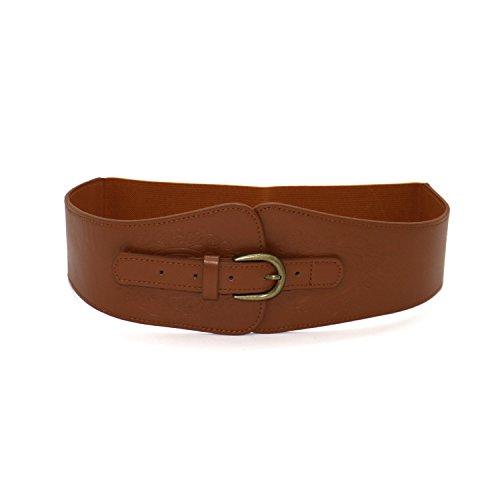 HUEL PU Leather Retro Flower Embossing Elastic Stretch Cinch Waist Belt Women (Brown) (Wear Cinch Belt)