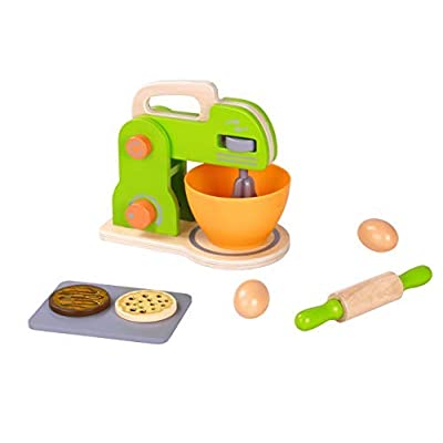 Pidoko Kids Toy Kitchen Accessories - 3 Pack Bundle - Wooden Pretend Play Appliances - Mixer, Toaster and Coffee Set (32 Pieces): Toys & Games