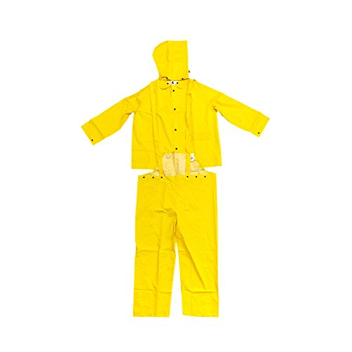 MCR Safety Classic Flame Resistant 3 Piece Rain Suit with 35mm PVC in Yellow - (Detachable Bib Safety Pants)