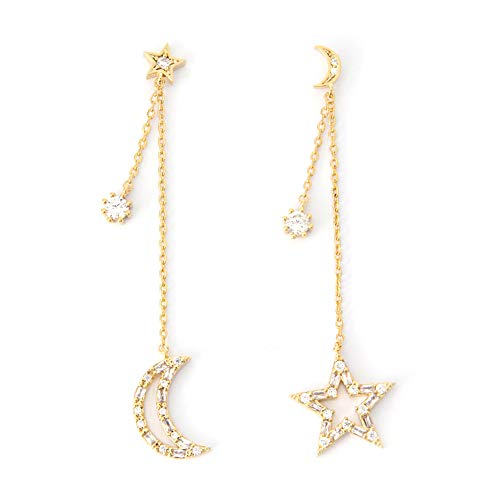 LAONATO Tapered Baguette CZ Crescent Moon and Star Drop Earrings (Gold) ()