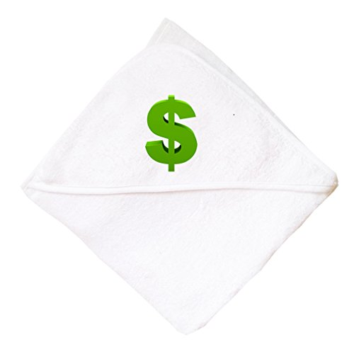 Cute Rascals Green Dollar Sign Cotton Baby Hooded Towel White