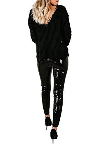 Joyfunear Women's Black Sequin Leggings Pants Bling Tights Long Trousers Black Large ()