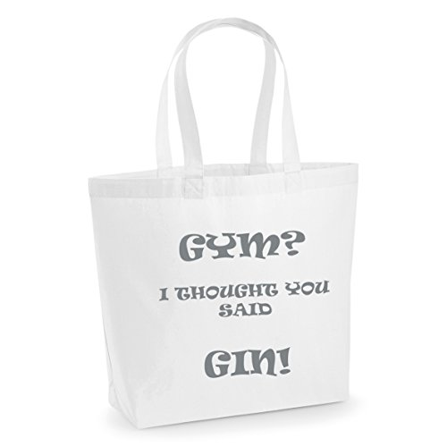 Cotton Slogan Print Yoga Shopper White Tote Said Silver Funny GYM You I Printed GIN Thought Workout Large With Bag Bag nw1H07qSp