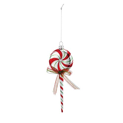 DEMDACO FA La La Mint Swirl Lollipop 2 x 6 Inch Glass Decorative Christmas Ornament ()