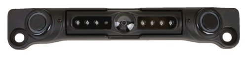 POWER ACOUSTIK LP-3CSB License Plate Camera with Night Vision, Proximity Collision Avoidance Sensors, Black Color