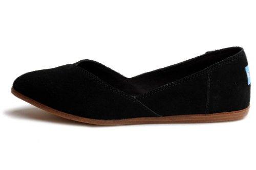 TOMS Women's Jutti Flat, Black Suede (6
