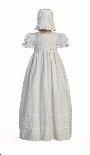 Girls Cotton Christening Gown Dresses with Bonnet Set - Baby or Infant Girl's Christening Dress, White, 6-12 Months ()