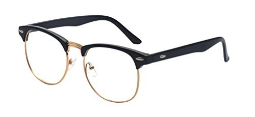 Outray Vintage Retro Classic Half Frame Horn Rimmed Clear Lens Glasses 2135c1 - Prescription Glasses Gold