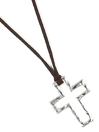 Cross Adjustable Faux Suede Strand Hammered Cross 30 Inch Long Faith - Rb3557