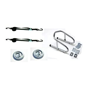 "Pit Posse 11017K Chrome Motorcycle Removable 6 1/2"" Wide Wheel Chock Nest Tire Trailer Holder Kit- 5 Year Warranty"